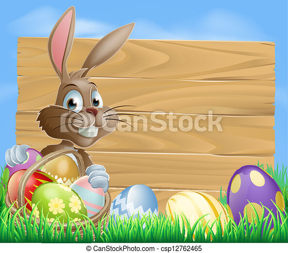 Easter Eggs Wooden Sign - csp12762465
