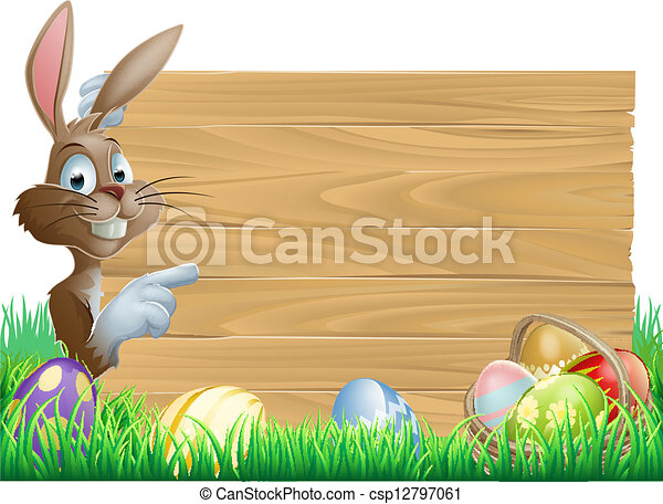 Easter Eggs Wooden Sign - csp12797061