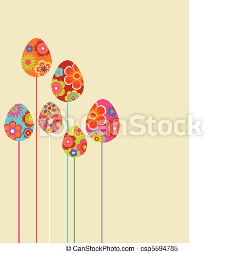 Easter floral eggs - csp5594785