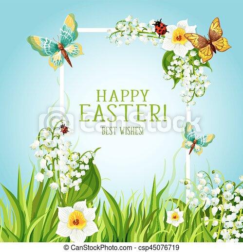 Easter Floral Frame With Spring Flower Card Design Happy Easter Day