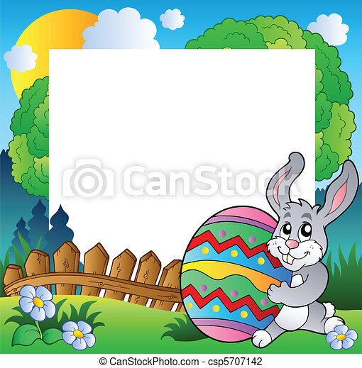 Easter frame with bunny holding egg - csp5707142