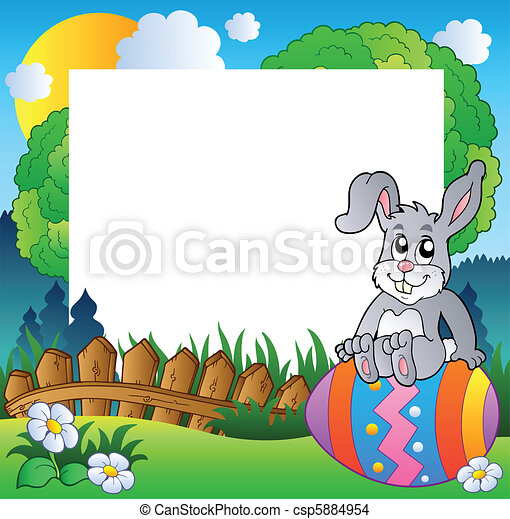 Easter frame with bunny on egg - csp5884954