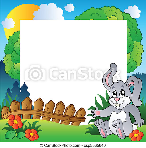 Easter frame with happy bunny - csp5565840