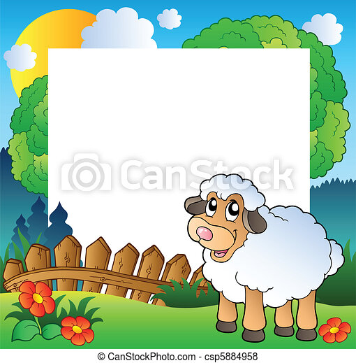 Easter frame with sheep on meadow - csp5884958