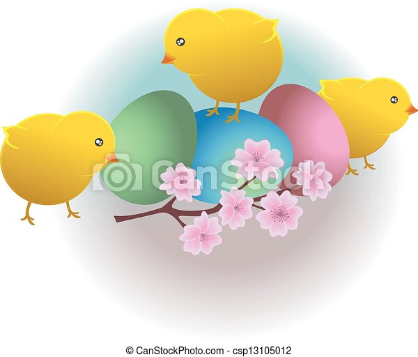 Easter funny chicks and eggs - csp13105012
