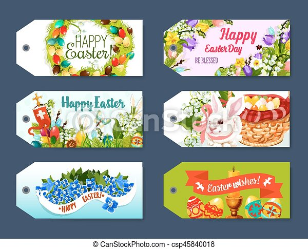 Easter gift tag and greeting label set design happy easter easter gift tag and greeting label set design csp45840018 negle Images
