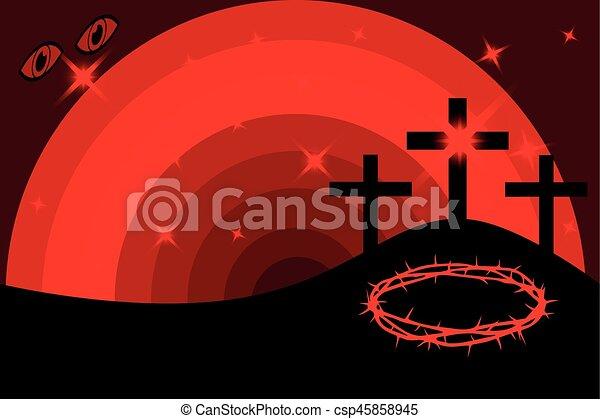 Easter - Golgotha, three crosses - csp45858945