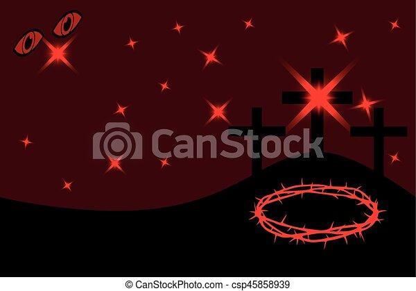 Easter - Golgotha, three crosses - csp45858939