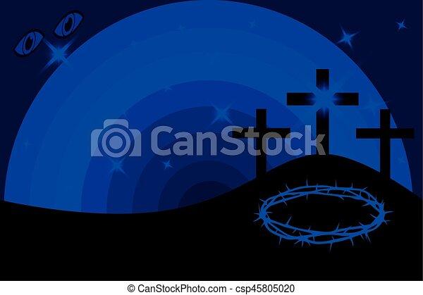 Easter - Golgotha, three crosses, - csp45805020