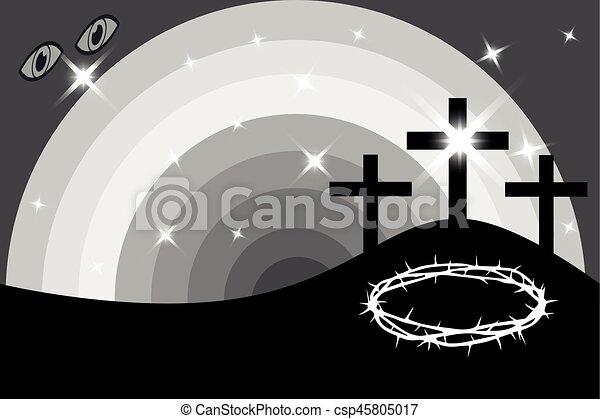 Easter - Golgotha, three crosses, - csp45805017