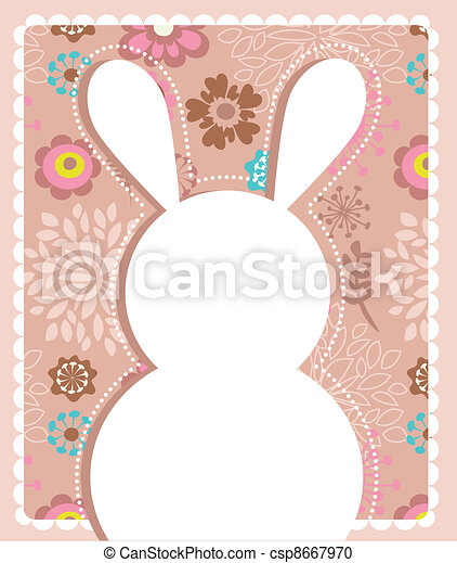 Easter greeting card with bunny - csp8667970