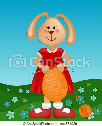 Easter greetings card with rabbit knitting the egg - csp5849291