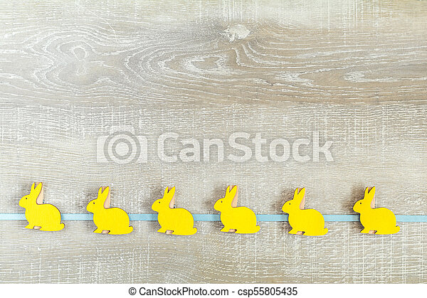 Easter holiday composition in yellow colors - csp55805435