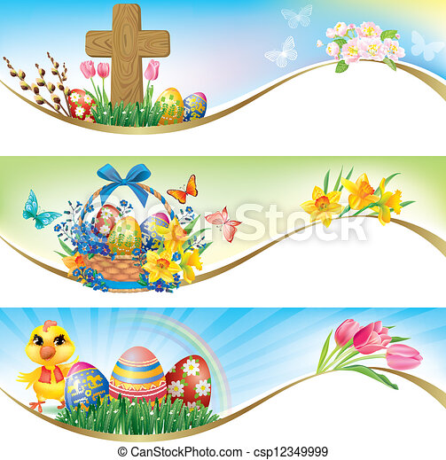 Easter horizontal banners - csp12349999
