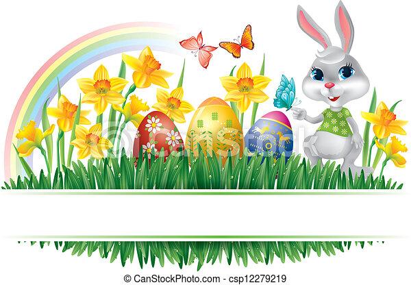 Easter horizontal frame - csp12279219