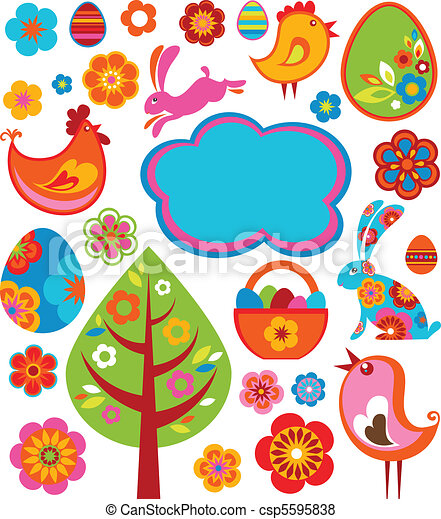 Easter icons and graphic elements - csp5595838