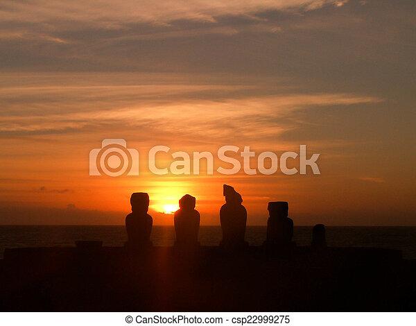 Easter Island Moai Silhouette Sunset - csp22999275