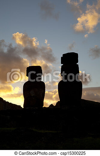 Easter Island Statues on sunset - csp15300225