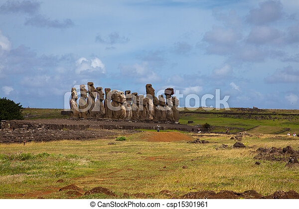 Easter Island Statues under blue sky - csp15301961