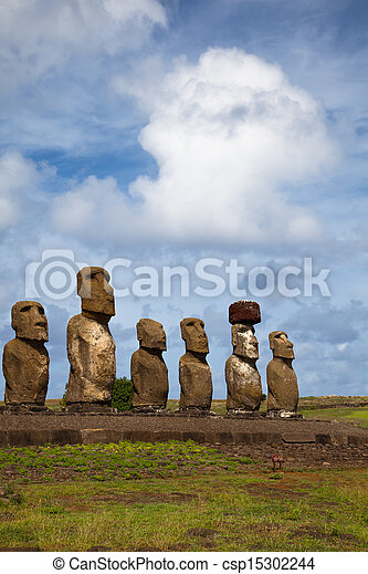 Easter Island Statues under blue sky - csp15302244