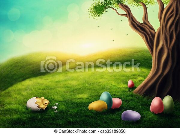 easter landscape with chicken and colorful eggs