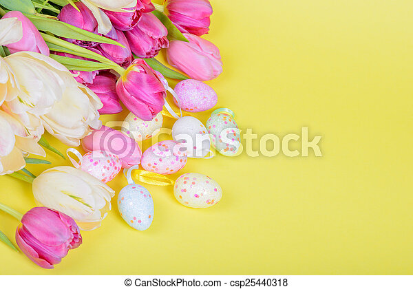 Easter multicolored tulips and eggs - csp25440318