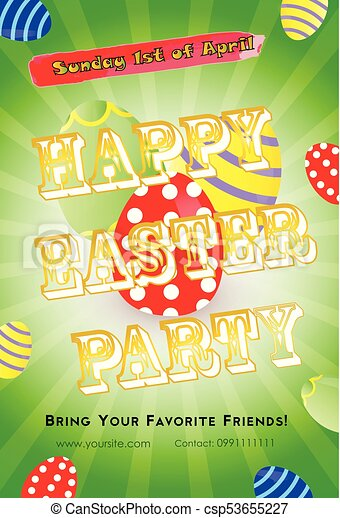Easter Party Flyer Template Easter Party Invitation Flyer  Vector