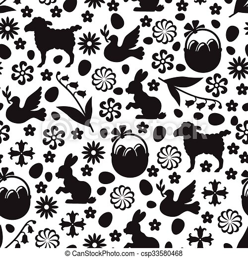 Easter pattern seamless - csp33580468