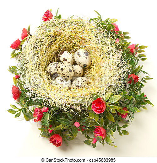 Easter quail eggs in the nest - csp45683985