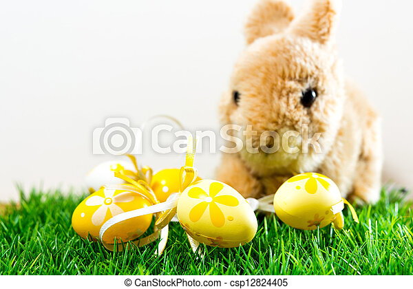 Easter rabbit on spring green grass - csp12824405