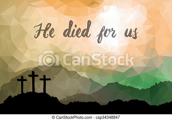 Easter scene with cross. Jesus Christ. Polygonal  design.   - csp34348847