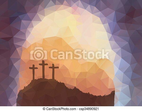 Easter scene with cross. Jesus Christ. Polygonal vector design. - csp34890921