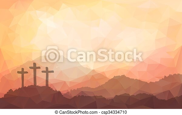 Easter scene with cross. Jesus Christ. Watercolor illustration   - csp34334710