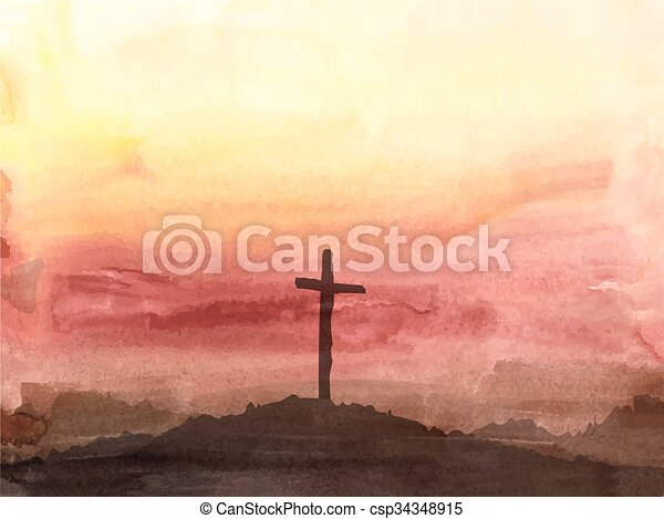 Easter scene with cross. Jesus Christ. Watercolor illustration - csp34348915