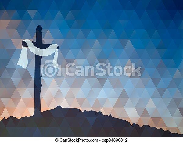Easter scene with cross. Jesus Christ. Watercolor vector illustr - csp34890812