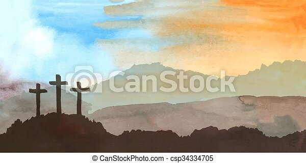 Easter scene with cross. Jesus Christ. Watercolor illustration - csp34334705