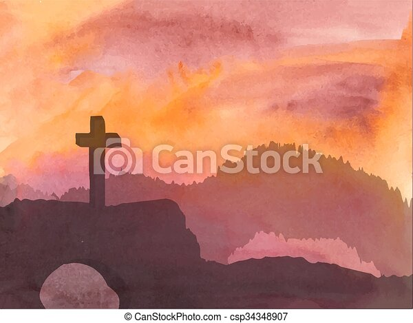 Easter scene with cross. Jesus Christ. Watercolor illustration   - csp34348907