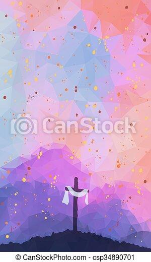 Easter scene with cross. Jesus Christ. Watercolor vector illustr - csp34890701
