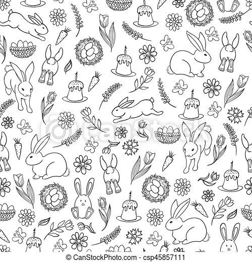 Easter seamless pattern - csp45857111