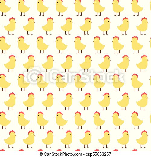 easter seamless pattern with cute yellow chicken on white background