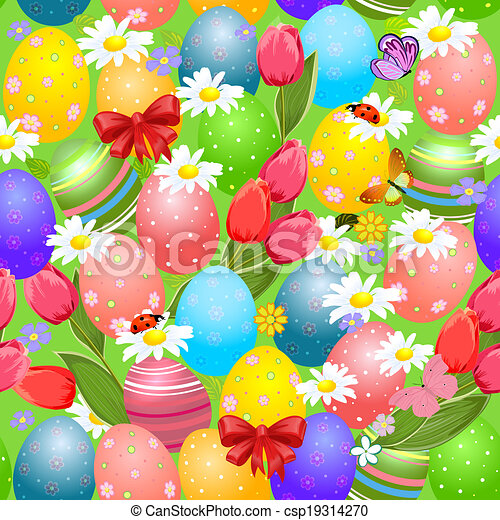 Easter seamless texture with eggs - csp19314270