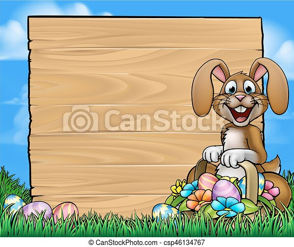Easter Sign Bunny Eggs Background - csp46134767