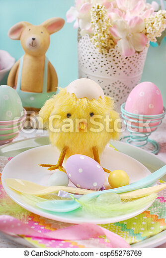 easter table setting for kids in pastel colors - csp55276769  sc 1 st  Can Stock Photo & Easter table setting for kids in pastel colors. Easter table setting ...