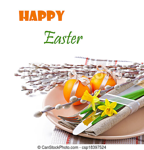 Easter table setting - csp18397524