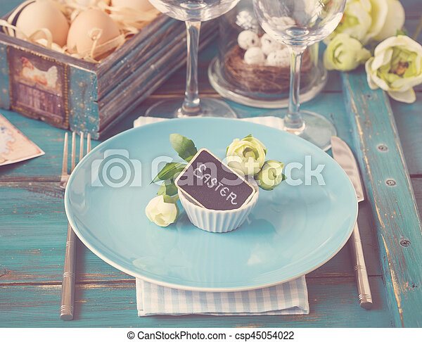Easter table setting. - csp45054022
