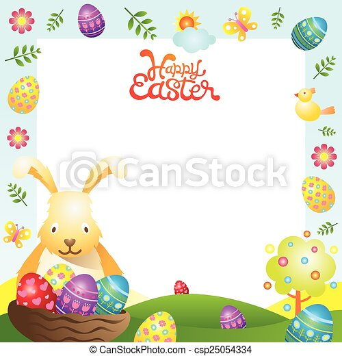 Easter with bunny and eggs frame. Easter set.