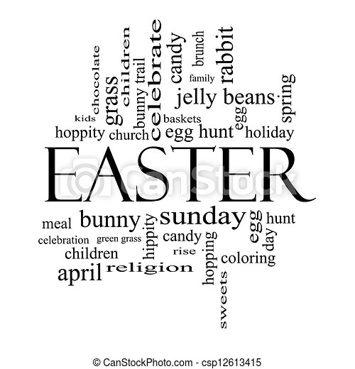 Easter word cloud concept in black and white csp12613415