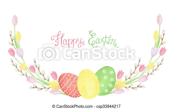 Easter Wreath Of Watercolor Tulip Easter Wreath Of Clipart
