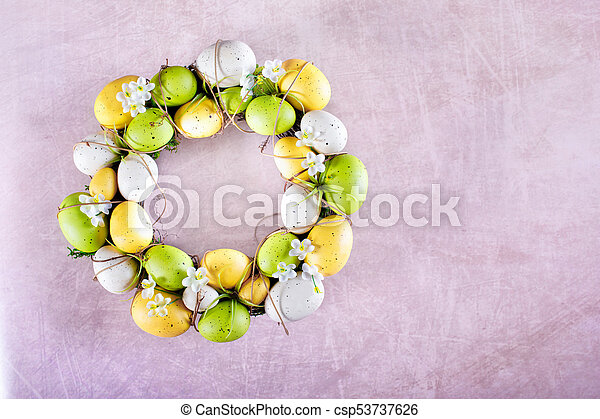 Easter Wreath On Pink Background - csp53737626
