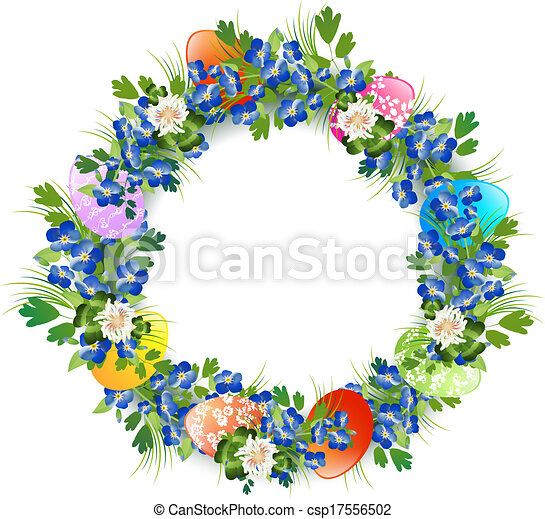 Easter Wreath Easter Decorative Wreath With Eggs And Vector